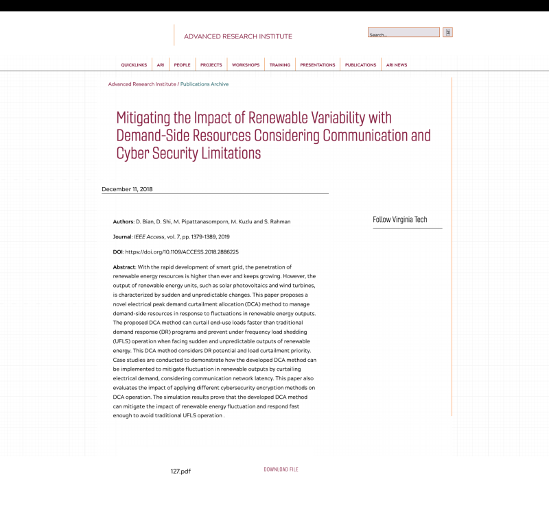 Mitigating the Impact of Renewable Variability with Demand-Side Resources Considering Communication and Cyber Security Limitations