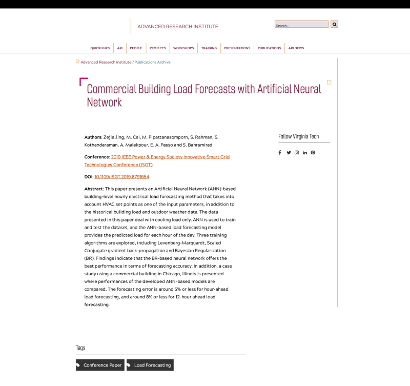 Commercial Building Load Forecasts with Artificial Neural Network
