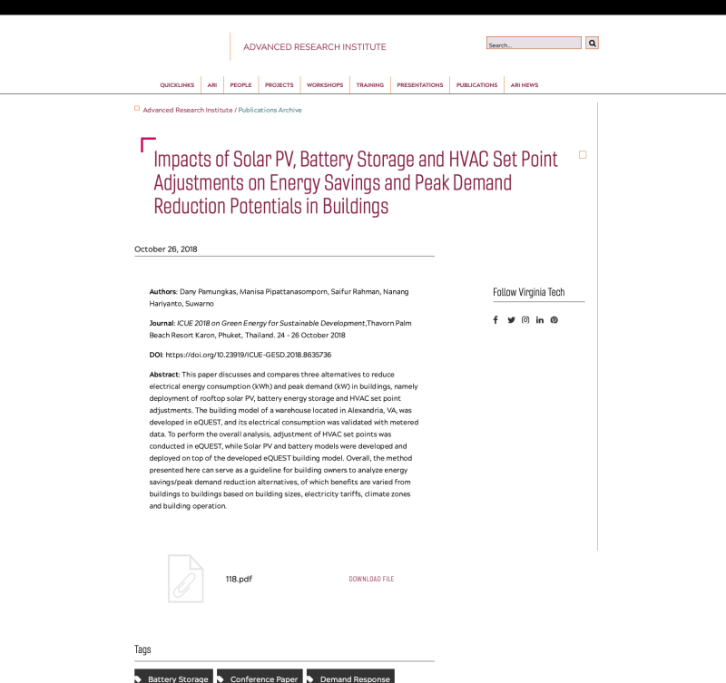 Impacts of Solar PV, Battery Storage and HVAC Set Point Adjustments on Energy Savings and Peak Demand Reduction Potentials in Buildings