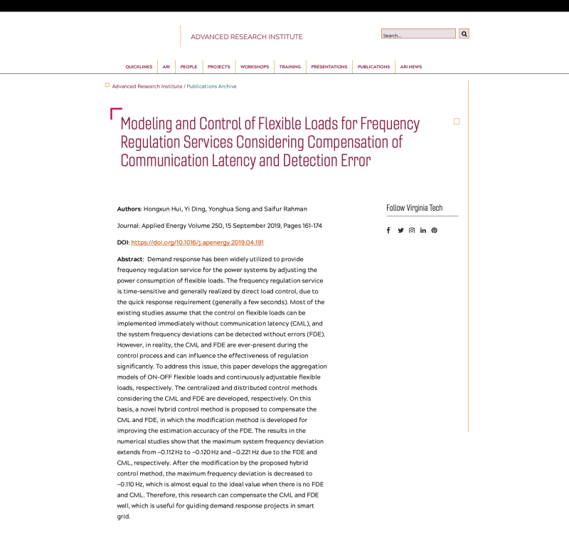 Modeling and Control of Flexible Loads for Frequency Regulation Services Considering Compensation of Communication Latency and Detection Error