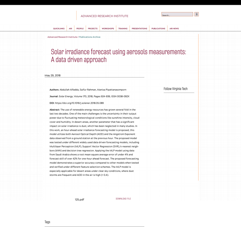Solar irradiance forecast using aerosols measurements: A data driven approach